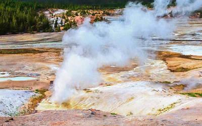 Photograph - Norris Geyser Basin In Action by John M Bailey