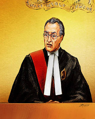 Art Print featuring the painting Nortel Verdict - Mr. Justice Marrocco Reads Non-guilty Ruling by Alex Tavshunsky