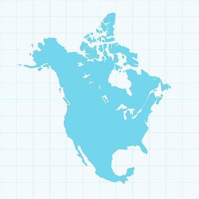 North America Map On Grid On Blue Art Print by Iconeer