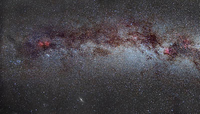 North America Nebula The Milky Way From Cygnus To Perseus And Andromeda Galaxy Art Print by Guido Montanes Castillo