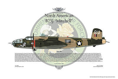 North American B-25j Mitchell Digital Art - North American B-25j Mitchell by Arthur Eggers