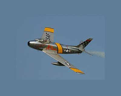 North American F 86 Sabre John Glenn Border Art Print by L Brown