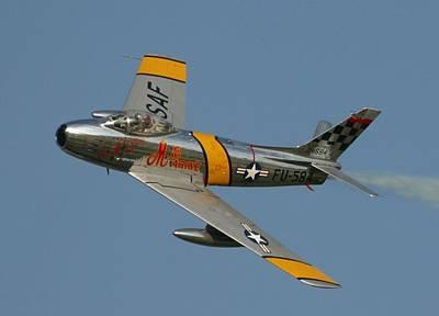 Communism Mixed Media - North American F 86 Sabre John Glenn Upsized A Little by L Brown