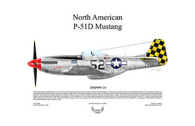 North American P-51d Shimmy Iv Art Print by Arthur Eggers