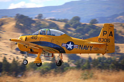 North American Trojan T-28b Nx306ww Climbing Out Art Print