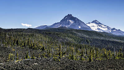 North And Middle Sister And The Lava Fields Art Print by Belinda Greb
