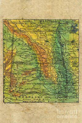 North And South Dakota Historic Map C. 1906 Art Print by Lisa Middleton