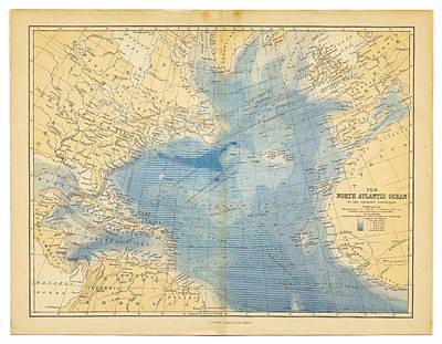 Topography Wall Art - Digital Art - North Atlantic Ocean Map 1882 by Thepalmer