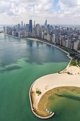 Aerial Photograph - North Avenue Beach Chicago Aerial by Adam Romanowicz