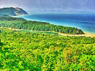 Digital Art - North Bar Lake Overlook / Sleeping Bear Dunes National Lakeshore by Digital Photographic Arts