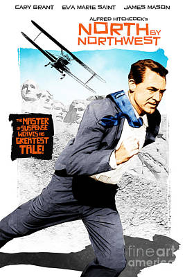 Films By Alfred Hitchcock Digital Art - North By Northwest by Michal Lanczkowski