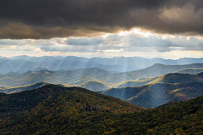 Landscapes Royalty-Free and Rights-Managed Images - North Carolina Blue Ridge Parkway Autumn NC Landscape by Dave Allen