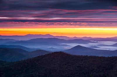 North Carolina Blue Ridge Parkway Nc Autumn Twilight Art Print by Dave Allen