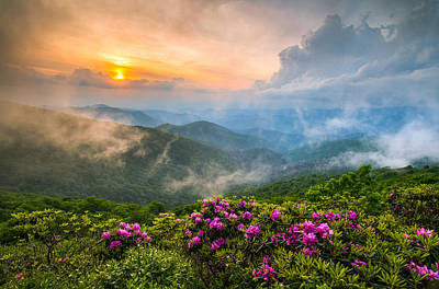 Sunset Landscape Wall Art - Photograph - North Carolina Blue Ridge Parkway Spring Appalachian Mountains Nc by Dave Allen