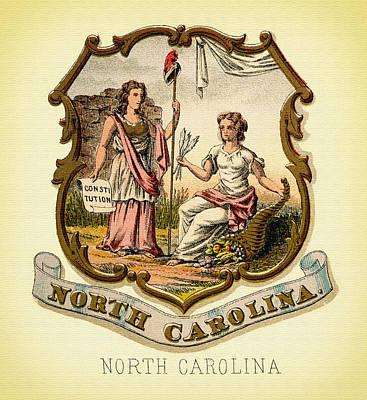 North Carolina Coat Of Arms - 1876 Art Print by Mountain Dreams