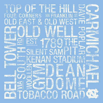 North Carolina College Colors Subway Art Art Print by Replay Photos