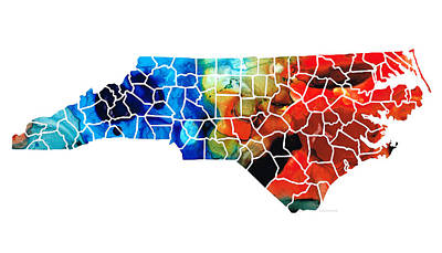 Bobcats Painting - North Carolina - Colorful Wall Map By Sharon Cummings by Sharon Cummings