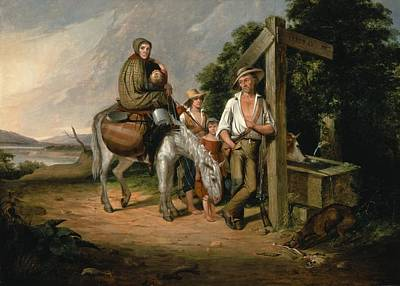 Realism Photograph - North Carolina Emigrants, Poor White Folks, 1845 Oil On Canvas by James Henry Beard