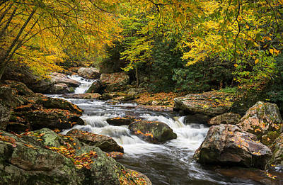 Mountain Royalty-Free and Rights-Managed Images - North Carolina Highlands NC Autumn River Gorge by Dave Allen