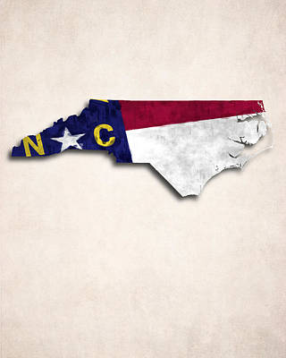 North Carolina Map Art With Flag Design Art Print by World Art Prints And Designs