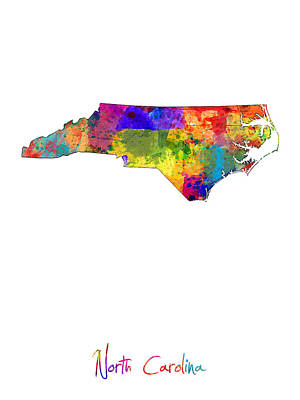 Travel Digital Art - North Carolina Map by Michael Tompsett