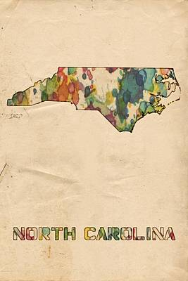 North Carolina Map Vintage Watercolor Art Print