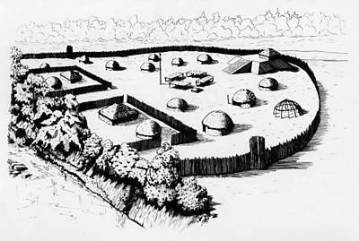 Fence Drawing - North Carolina Mound by Granger