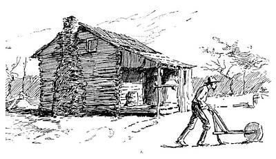 Log Cabin Drawing - North Carolina Ploughing by Granger