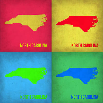 Modern Poster Painting - North Carolina Pop Art Map 1 by Naxart Studio