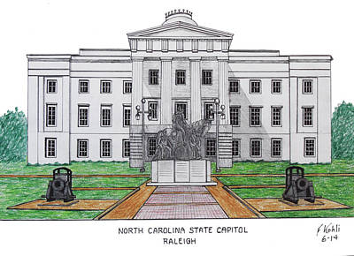 Drawing - North Carolina State Capitol by Frederic Kohli