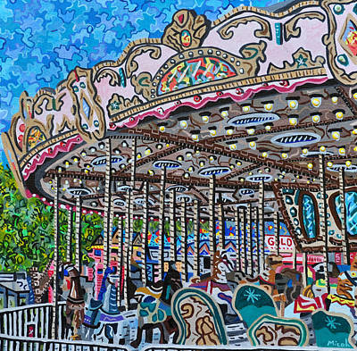 Amusement Parks Painting - North Carolina State Fair by Micah Mullen