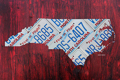 North Carolina Mixed Media - North Carolina State License Plate Map Art by Design Turnpike
