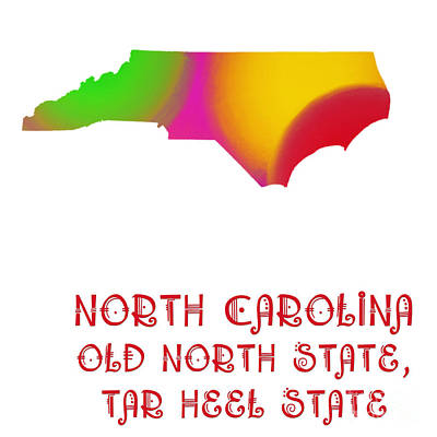 North Carolina State Map Collection 2 Art Print by Andee Design