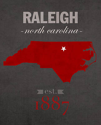 North Carolina State University Wolfpack Raleigh College Town State Map Poster Series No 077 Art Print