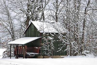 Red Barn In Winter Photograph - North Carolina Tobacco Barn by Benanne Stiens