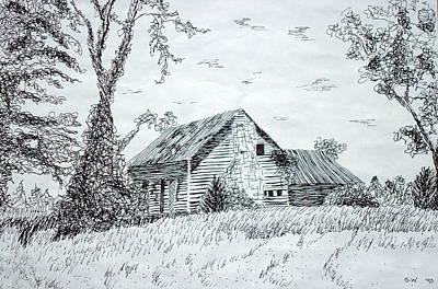 Old Cabins Drawing - North Carolina Vernacular by Susan Woodward