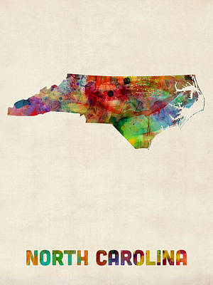 North Digital Art - North Carolina Watercolor Map by Michael Tompsett