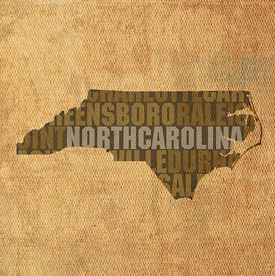 North Carolina Mixed Media - North Carolina Word Art State Map On Canvas by Design Turnpike