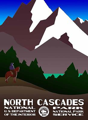North Cascades National Park Vintage Poster Art Print by Eric Glaser
