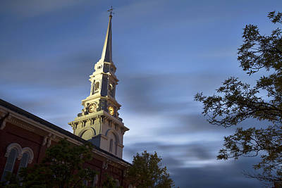 North Church Evening Art Print by Eric Gendron