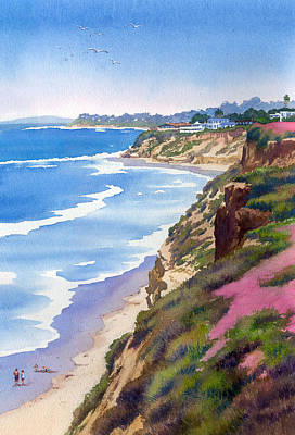Beach Scene Painting - North County Coastline Revisited by Mary Helmreich