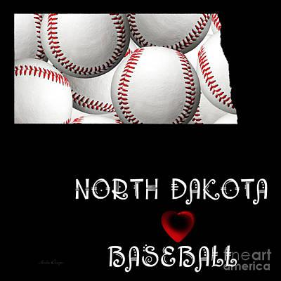 North Dakota Loves Baseball Art Print