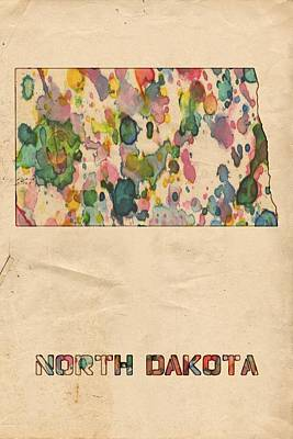 Painting - North Dakota Map Vintage Watercolor by Florian Rodarte