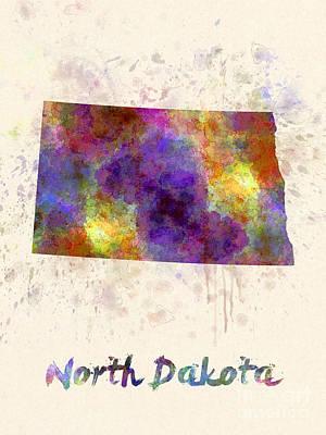 Dakota Painting - North Dakota Us State In Watercolor by Pablo Romero