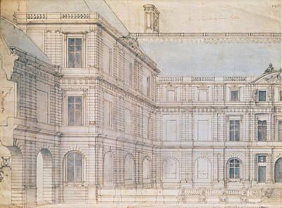 North Facade Of The Palais De Luxembourg Pen & Ink On Paper Art Print by Salomon de Brosse