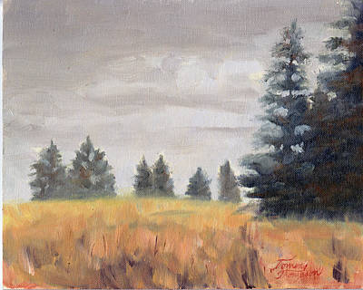 North Haven Island Painting - North Haven Evergreens by Tommy Thompson