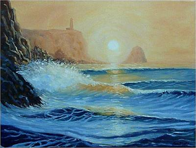 Painting - North Head Twilight Mist by Fran Brooks