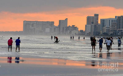 Walking In Tide Photograph - North Myrtle Beach At Sunset by Lydia Holly