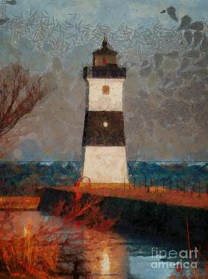 Digital Art - North Pier Lighthouse 2015 by Kathryn Strick