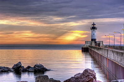 Duluth Canal Park Canal Park Lighthouse Lighthouse Lake Superior Minnesota Photograph - North Pier Morning by Bryan Benson